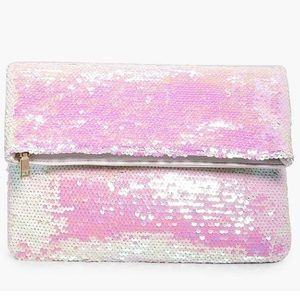 Mermaid iridescent sequin fold over clutch. NWT